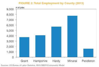 Figure 2: Total Employment by County (2013)